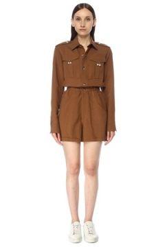 Forte Couture Kadın Kahverengi İnci Toka Detaylı Mini Tulum 40 IT(117384885)