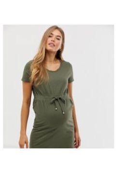 Mamalicious - Vestito T-shirt corto premaman allacciato in vita kaki-Verde(123213346)