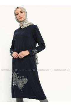 Navy Blue - Crew neck -- Tunic - NOVİNZA(110314290)