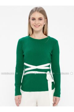 Green - Crew neck - Acrylic -- Jumper - Kaktüs(110327777)