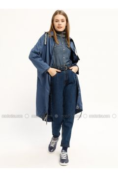 Indigo - Unlined - Polo neck - Trench Coat - Kaktüs(110319021)