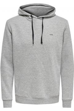 Only & Sons Gri Kapüşonlu Sweatshirt(113990396)