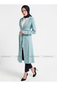 Mint - Unlined - Shawl Collar - Topcoat - Butik Neşe(110335626)