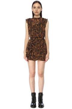 Allsaints Kadın Hali Leopar Desenli Drapeli Mini Elbise Kahverengi 4 US(117384769)