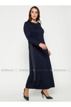 Navy Blue - Crew neck - Unlined - Plus Size Dress - Efraze(110329607)