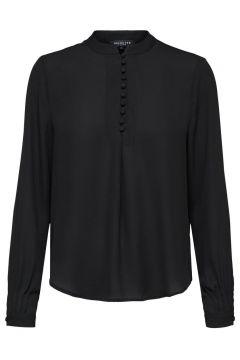 SELECTED Maokraag Overhemd Dames Zwart(109127163)