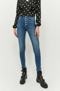 High Waist Button Front Skinny Jeans(116789603)