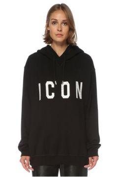 Dsquared2 Kadın Icon Oversize Siyah Kapüşonlu Sweatshirt S EU(121299426)