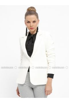 White - Ecru - Stripe - Fully Lined - Shawl Collar - Jacket - Fashion Light(110335033)