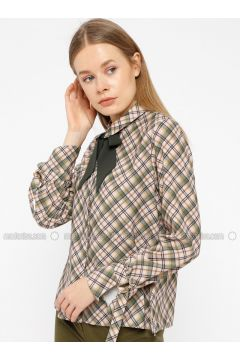 Green - Plaid - Point Collar - Blouses - İVRİZ(110339200)