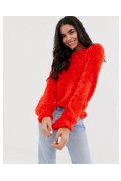 QED London - Flauschiger Pullover mit Ballonärmeln - Rot(95030425)