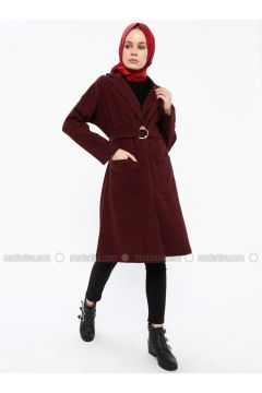 Maroon - Unlined - Shawl Collar - Coat - İLMEK TRİKO(110336283)