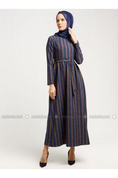 Navy Blue - Minc - Multi - Crew neck - Unlined - Dresses - Almera(110336512)