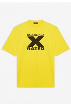 Balenciaga Erkek X Rated Large Fit Sarı Logo Baskılı T-shirt Siyah M EU(114438776)