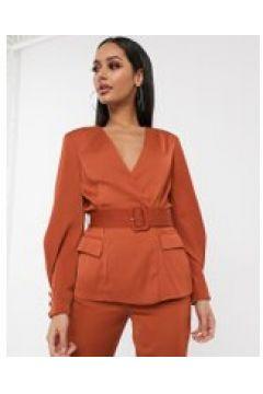Lavish Alice - Blazer marrone con cintura in coordinato(120390716)