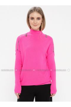 Fuchsia - Polo neck - Jumper - Kaktüs(110328145)