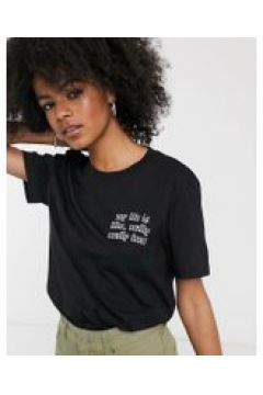 Dr Denim - T-shirt nera con slogan-Grigio(112348426)