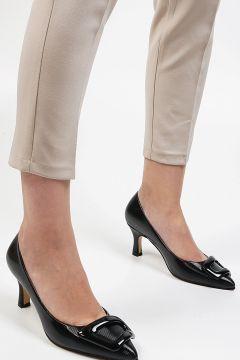 Marjin Siyah Rugan Kadın Aksiler Topuklu Ayakkabı(121520148)