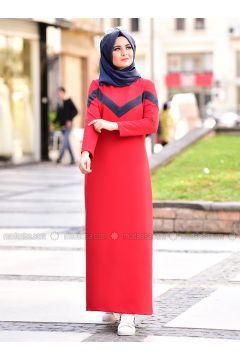 Red - Crew neck - Unlined - Dresses - Nurgül Çakır(110331651)