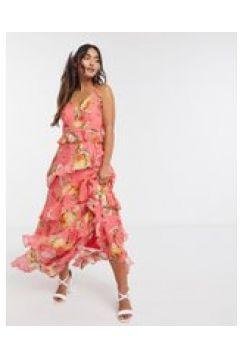Forever New - Vestito lungo color melone acceso a fiori con bottoni e volant-Multicolore(120328977)