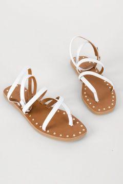 Shoes & More Kadın Beyaz Hakiki Deri Sandalet(124320802)