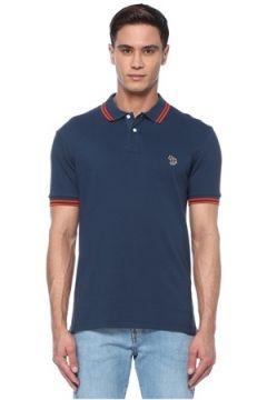 PS by Paul Smith Erkek Lacivert Polo Yaka Logolu T-shirt Mavi S EU(117578404)