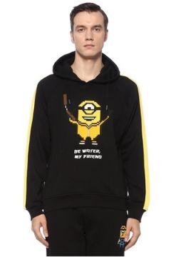 8-Bit by Mhrs Erkek Siyah Kapüşonlu 3D Figür Baskılı Sweatshirt S EU(121912329)
