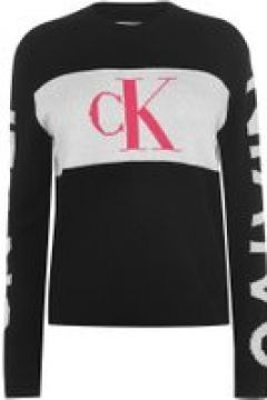 Calvin Klein Jeans Statement Logo Knit Jumper - CK BLACK(107966764)