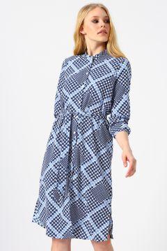 Vero Moda Desenli Mavi-Beyaz Midi Elbise(113980805)