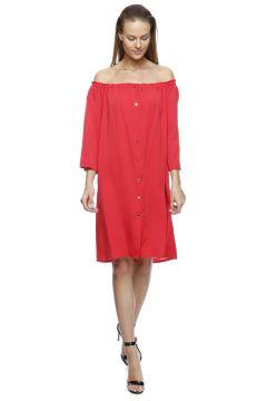 Beymen Studio Kayık Yaka Kırmızı Elbise(113963713)