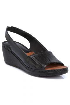 Tergan Siyah Deri Kadın Sandalet 64337A23(118287776)