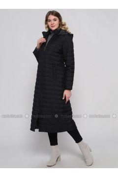 Black - Fully Lined - Plus Size Overcoat - Alia(110316730)