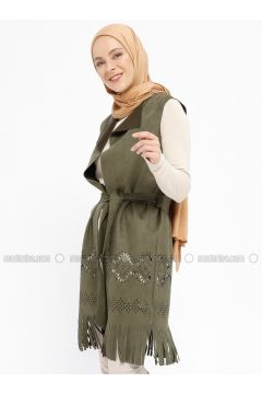 Khaki - Unlined - Shawl Collar - Vest - XTREND(110329254)