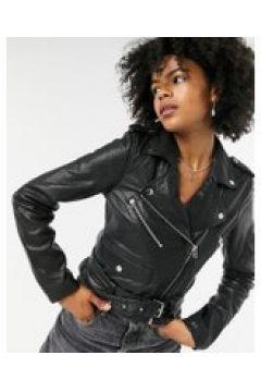 Goosecraft - Giacca biker in pelle con zip nera-Nero(120791647)