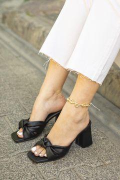 STRASWANS Kadın Siyah Pello Deri Topuklu Terlik(118647455)
