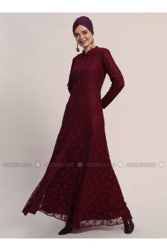 Maroon - Fully Lined - Crew neck - Muslim Evening Dress - Refka(110319670)