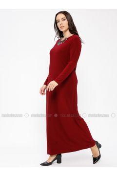 Maroon - Crew neck - Unlined - Dresses - Minimal Moda(110331315)