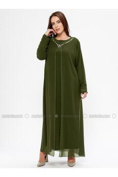 Khaki - Unlined - Crew neck - Muslim Plus Size Evening Dress - Havva Ana(110329987)