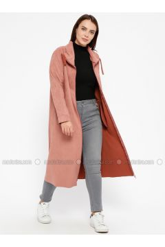 Powder - Unlined - Point Collar - Plus Size Coat - ECESUN(110329385)