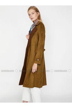 Khaki - Shawl Collar - Trench Coat - Koton(110323850)