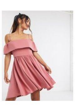 Forever New - Vestito corto con scollo alla Bardot rosa polvere-Multicolore(120328980)