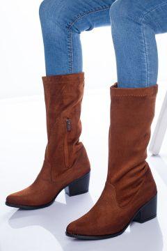 Ayakkabı Frekansı Opsi Kadın Taba Süet Streç Çizme(118648463)