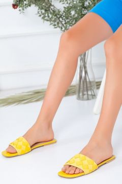 Favi Kadın Baklava Desenli Sarı Terlik(119791333)