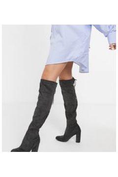 Simply Be wide Fit - Stivali grigi sopra al ginocchio con tacco largo-Grigio(124797972)