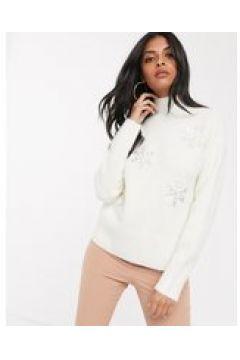 Fashion Union - Maglione accollato con paillettes applicate-Crema(123219140)