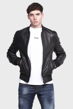 883 Police Textured Black Mens Leather Jackets(122988864)