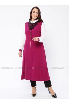 White - Pink - Fuchsia - Unlined - Plus Size Suit - Butik Neşe(110335599)