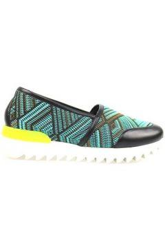 Chaussures Greymer slip-on noir cuir bleu clair textile ap810(115443188)