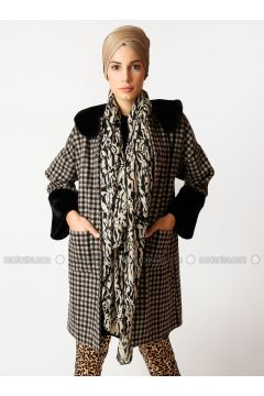 Brown - Multi - Unlined - Crew neck - Cotton - Coat - Meryem Acar(110327085)