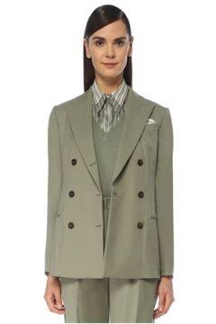 Brunello Cucinelli Kadın Yeşil Mendil Detaylı Yün Ceket 36 IT(119153479)